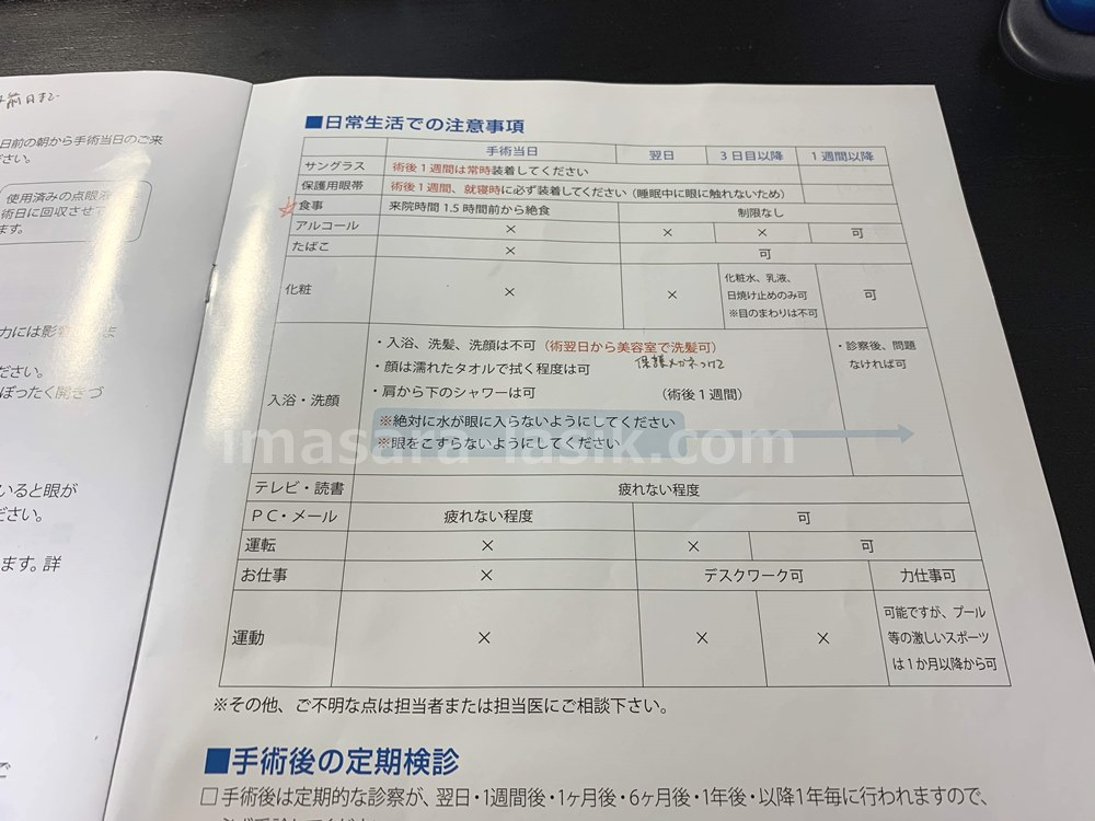 ICL日常生活の注意事項